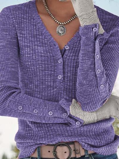 V neck button women long sleeve sweaters
