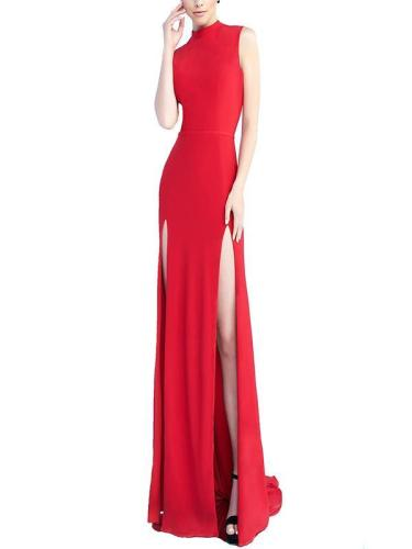 Elegant stand collar sleeveless long evening dresses