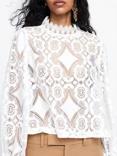 Fashion Band Collar Decorative  Lace Plain Blouses