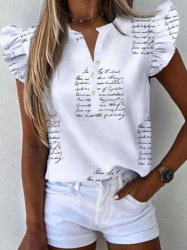 Fashion Casual Print V neck Falbala Short sleeve Blouses