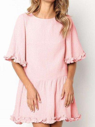 Fashion Round neck Half sleeve Lace Shift Dresses