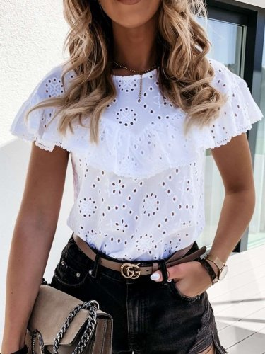 Fashion Pure Hollow out Round neck Short sleeve Falbala Blouses