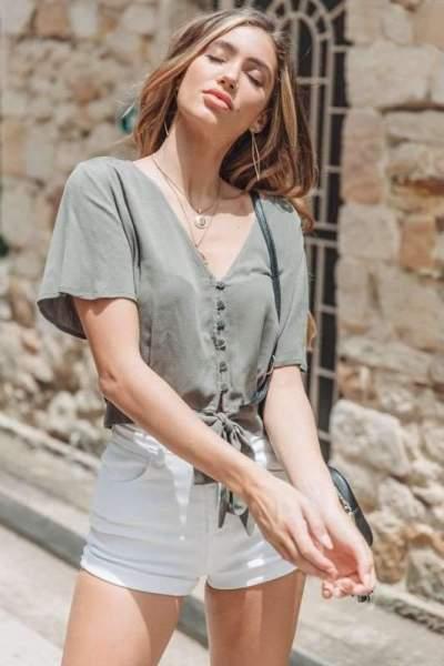 Fashion V neck Short sleeve Lacing Blouses