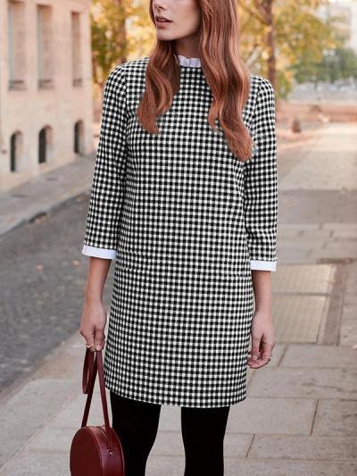 PAVACAT PLAID ROUND NECK LEISURE SHIFT DRESS
