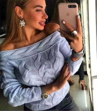 Fashion Plait Pure One shoulder Long sleeve Sweaters