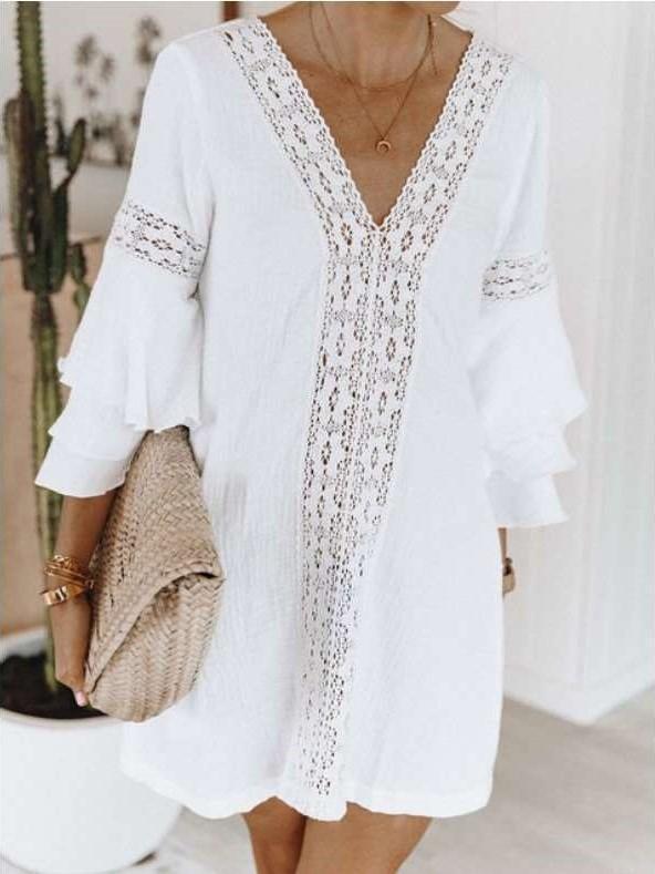 Fashion V neck  Falbala Shift Dresses