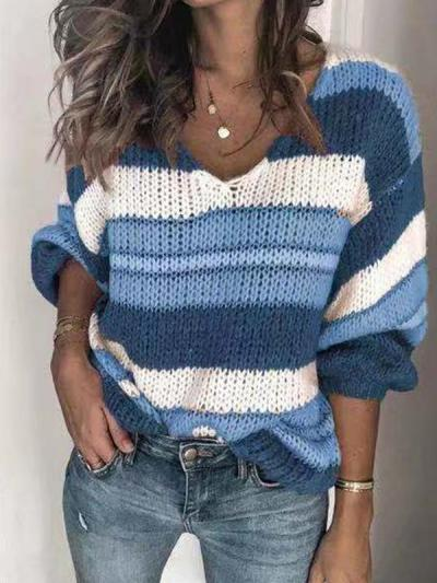 V collar stripe comfortable loose sweaters