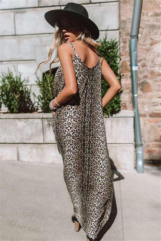 Fashion Leopard print V neck Vest Maxi Dresses