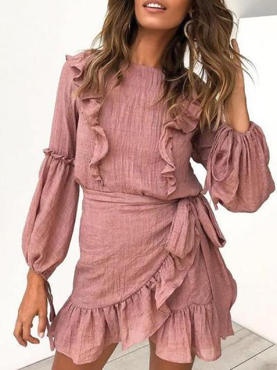 Sweet long sleeve Flounce lace frock skater dresses
