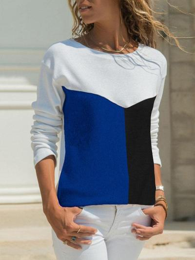 Spring Three Color Mosaic Casual Round Collar Long Sleeve T-shirt