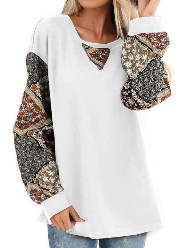 Print Gored Puff sleeve Round neck T-Shirts
