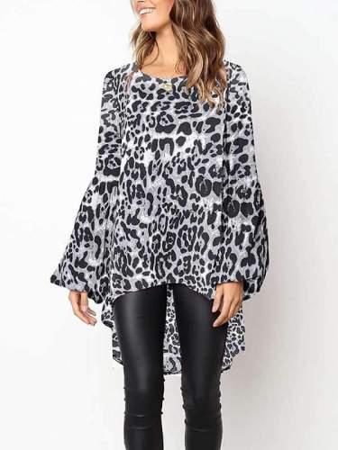 Fashion Leopard Print Round Neck Irregular Mini Dresses