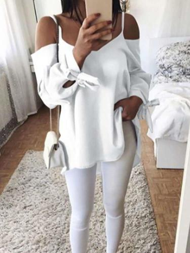 Fashion Pure Vest Off shoulder Long sleeve T-Shirts