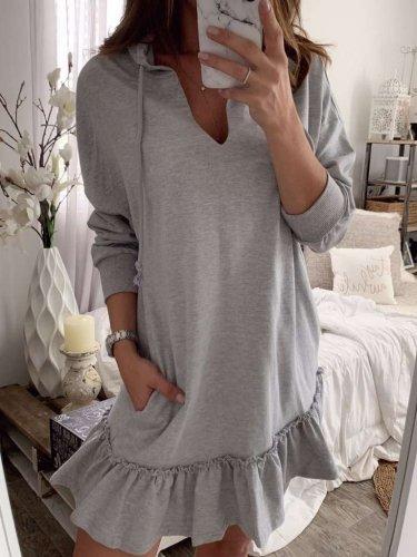 Casual Pure Long sleeve Hoodies Shift Dresses