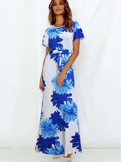 Fashion Print Lacing Short sleeve Round neck Maxi Dresses