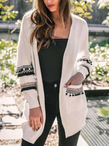 Fashion Gored Print Long sleeve Knit Cardigan