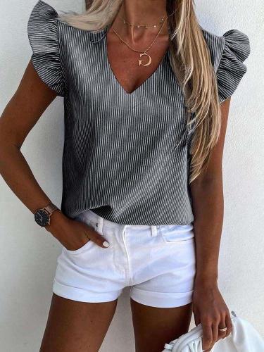 Fashion Stripe V neck Falbala Short sleeve Blouses