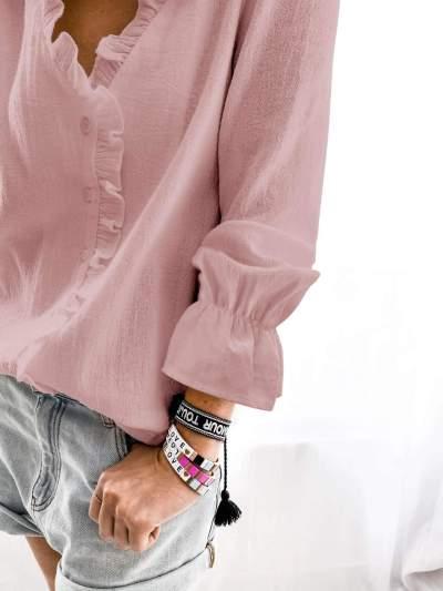 Fashion Pure V neck Stringy selvedge Long sleeve Blouses
