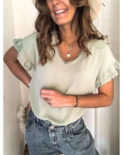 Fashion Pure V neck Short sleeve Falbala T-Shirts
