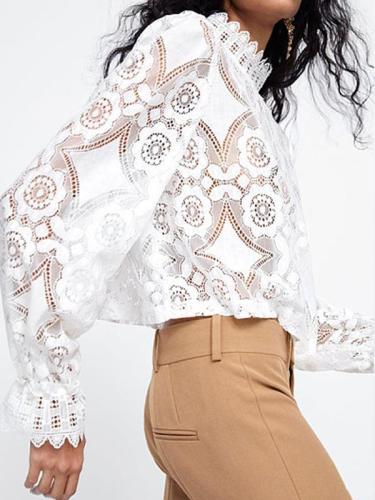 Fashion Band Collar Decorative  Lace Plain Blouses