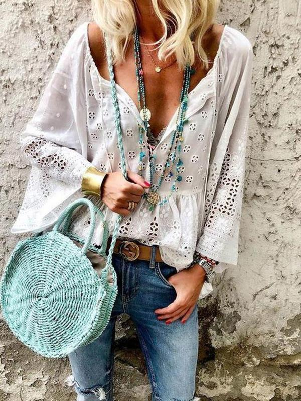 Fashion women white long sleeve cotton blouses