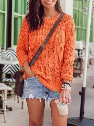Orange basic round neck long sleeve women sweaters