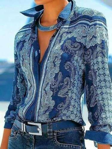 Fashion Casual Print Lapel Long sleeve Blouses