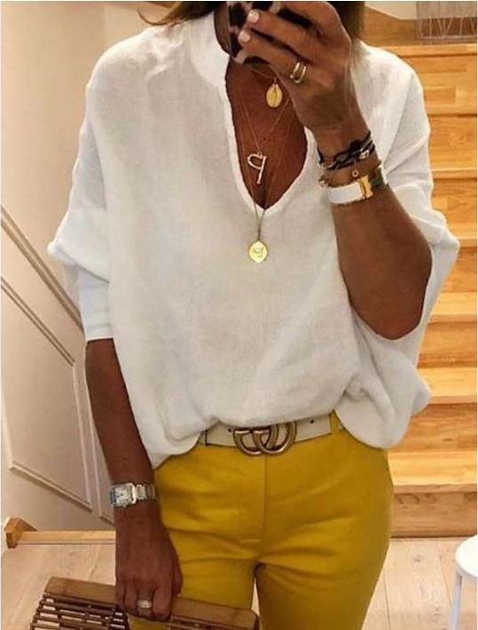 Fashion Loose V neck Women Blouses