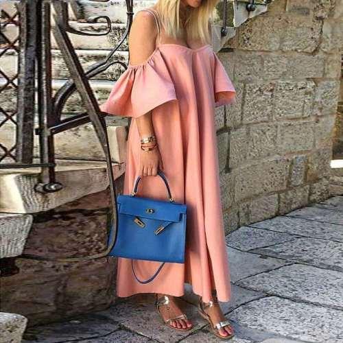 Fashion Loose Vest One shoulder Short sleeve Falbala Maxi Dresses