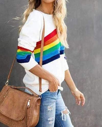 Casual Stripe print Round neck Long sleeve Sweatshirts