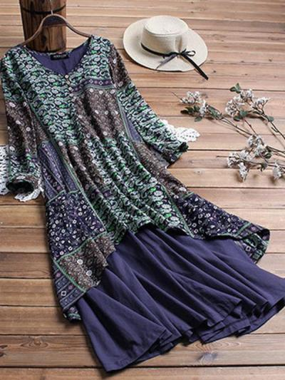 Women Printed Button V neck Loose Maxi Dresses