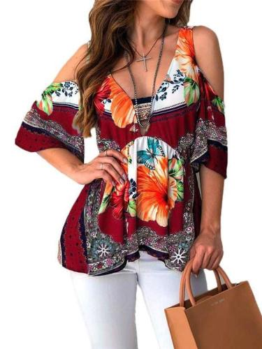 Fashion Casual Print Off shoulder Half sleeve T-Shirts
