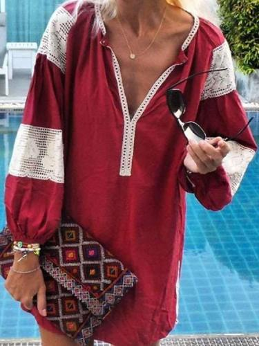 Fashion Causual Gored V neck Puff sleeve Shift Dresses