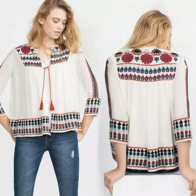 Bohemia Loose Chiffon Digital Printing Vacation Cardigan Shirt