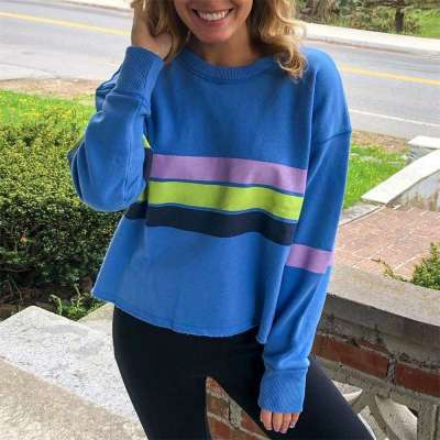 Fashion Stripe Round neck Long sleeve Sweatshirts
