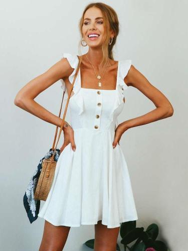 Fashion Pure Vest Falbala Skater Dresses