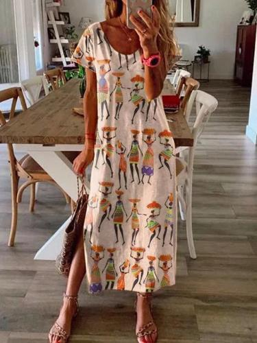 Loose casual women printed short sleeve Maxi dresses