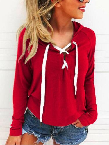 Fashion Woman Daily Hooded Drawstring Plain Hoodies