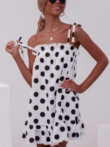 Fashion Polka Dot Sling Ruffled Dress
