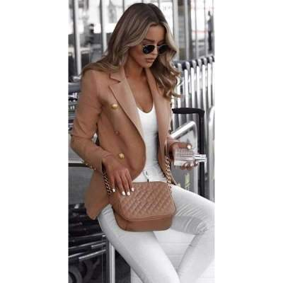 Fashion Lapel Pure Long sleeve Blazer