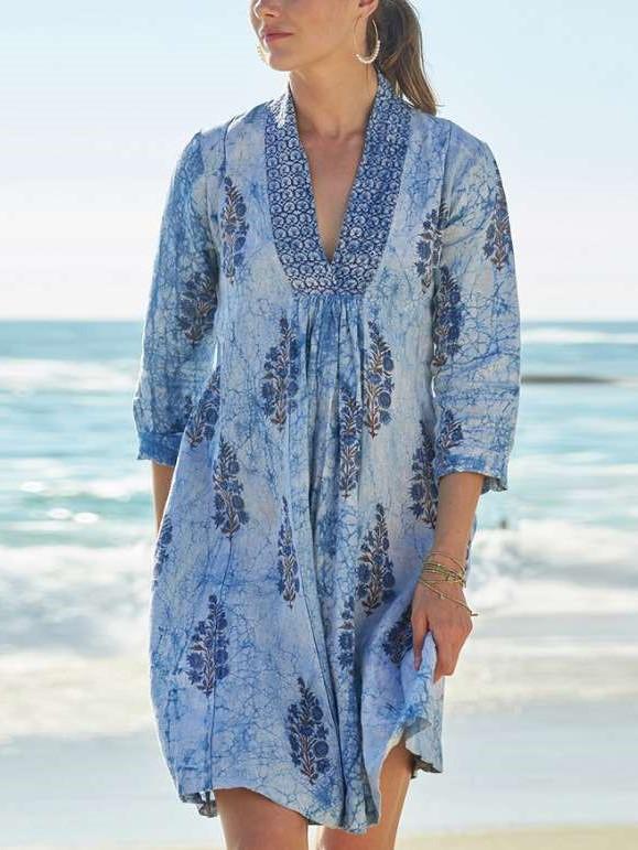 Casual Print V neck Three quarter sleeve Shift Dresses