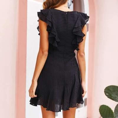 Fashion Casual Pure Round neck Sleeveless Falbala Skater Dresses