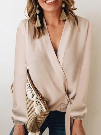 Chic woman v neck long sleeve blouses