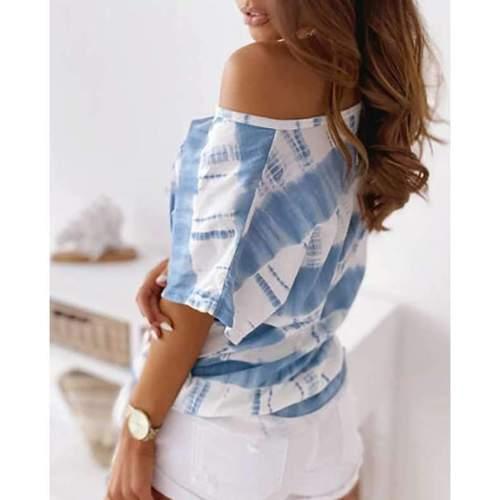 Fashion Casual Stripe Round neck Short sleeve T-Shirts
