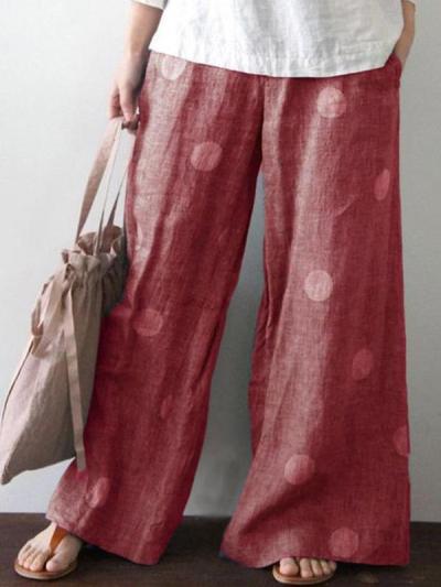 Loose Polka Dot Wave Pot Printed Long Wide leg pants