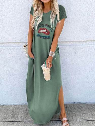 Fashion round neck Loose short sleeves lip printed maxi dresses