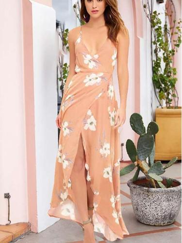 Sexy Backless Print V neck Vest Maxi Dresses
