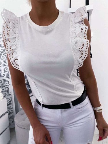 Fashion Pure Lace Falbala Round neck Sleeveless T-Shirts