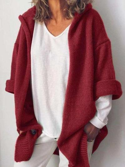 Casual Pure Hoodies Knit Long sleeve Cardigan Sweaters