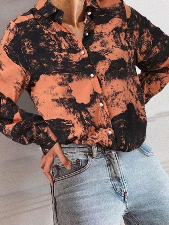 Fashion Plangi print Stand collar Long sleeve Blouses